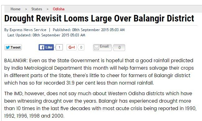 Drought of Bolangir, Odisha: Farmers need support