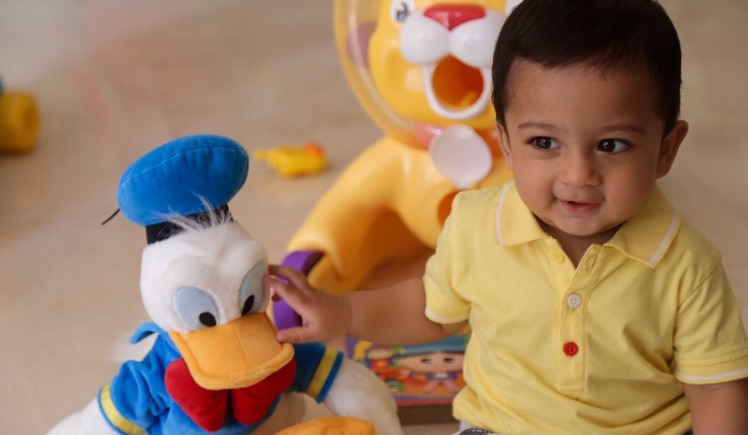 Kabir shares his first birthday gift with friends
